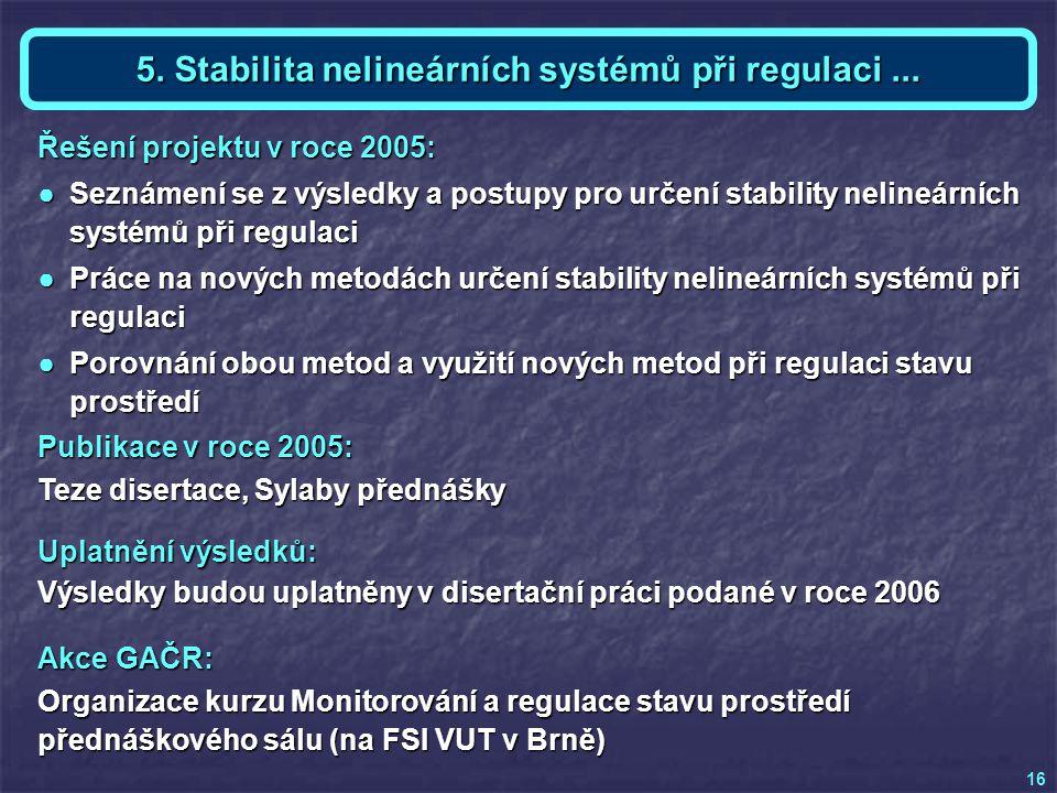 Akce GAČR: Organizace kurzu Monitorování a regulace stavu prostředí přednáškového sálu (na FSI VUT v Brně) Téma 5 a KE - Ing.