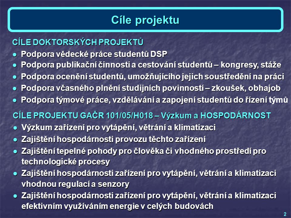 Cíle projektu CÍLE DOKTORSKÝCH PROJEKTŮ ●Podpora vědecké práce studentů DSP ●Podpora publikační činnosti a cestování studentů – kongresy, stáže ●Podpo