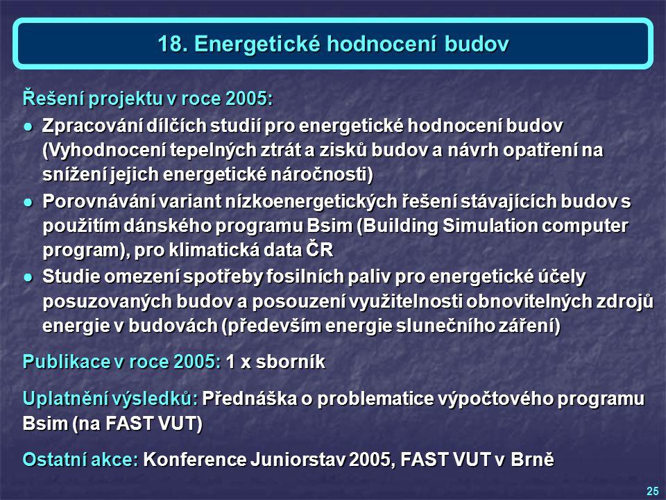 Téma 18 - Ing. Ondřej MIŠÁK 25 18. Energetické hodnocení budov Publikace v roce 2005: 1 x sborník Uplatnění výsledků: Přednáška o problematice výpočto