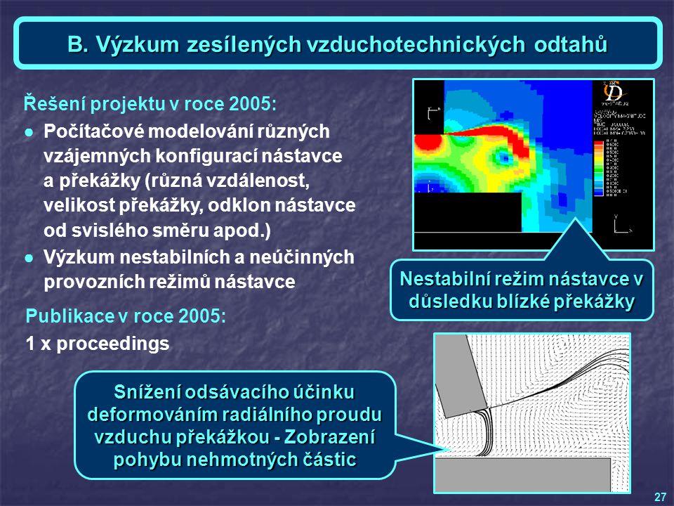 Téma B - Ing. Vladimír KREJČÍ 27 B. Výzkum zesílených vzduchotechnických odtahů Publikace v roce 2005: 1 x proceedings Řešení projektu v roce 2005: ●P