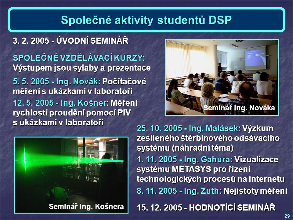 Společné aktivity studentů DSP SPOLEČNÉ VZDĚLÁVACÍ KURZY: Výstupem jsou sylaby a prezentace 5. 5. 2005 - Ing. Novák: Počítačové měření s ukázkami v la