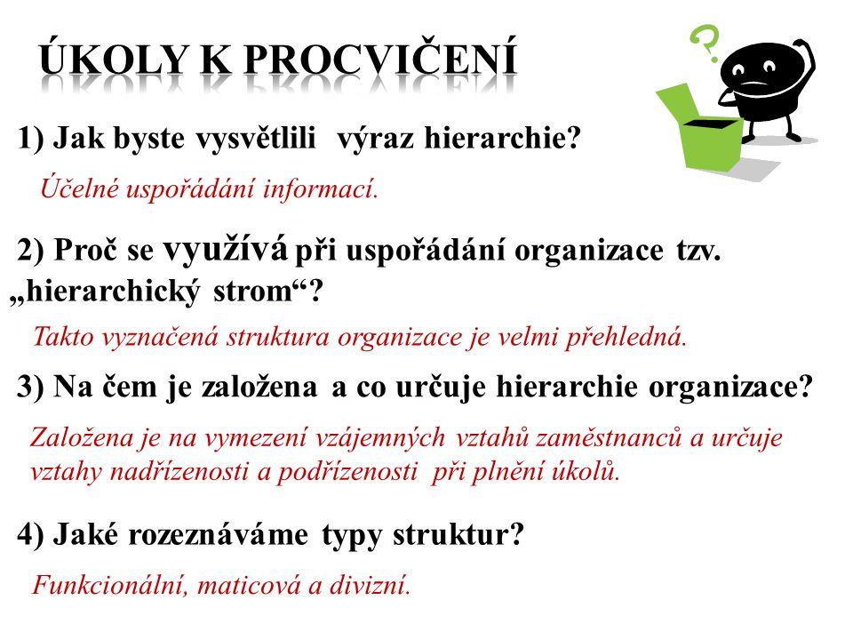 """1) Jak byste vysvětlili výraz hierarchie? Účelné uspořádání informací. 2) Proč se využívá při uspořádání organizace tzv. """"hierarchický strom""""? Takto v"""