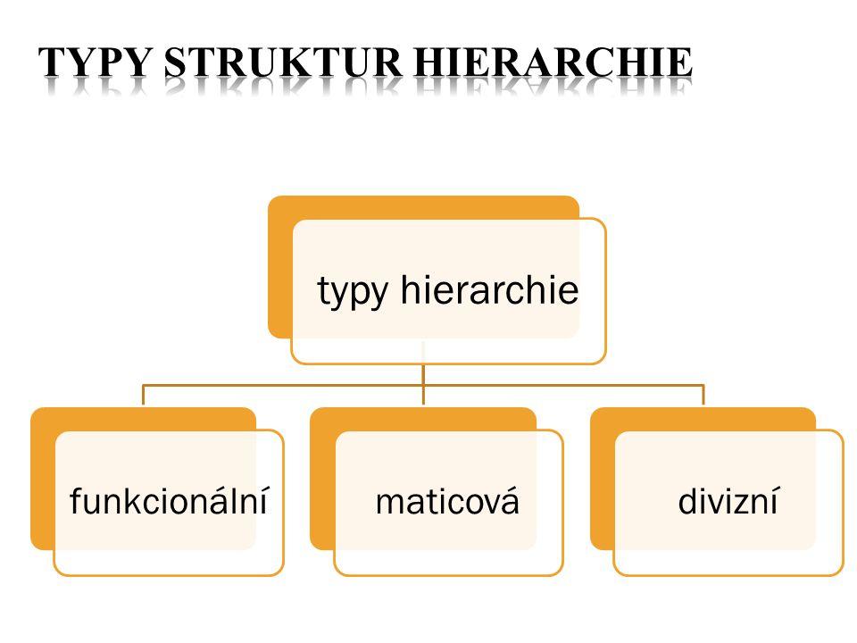 typy hierarchie funkcionálnímaticovádivizní