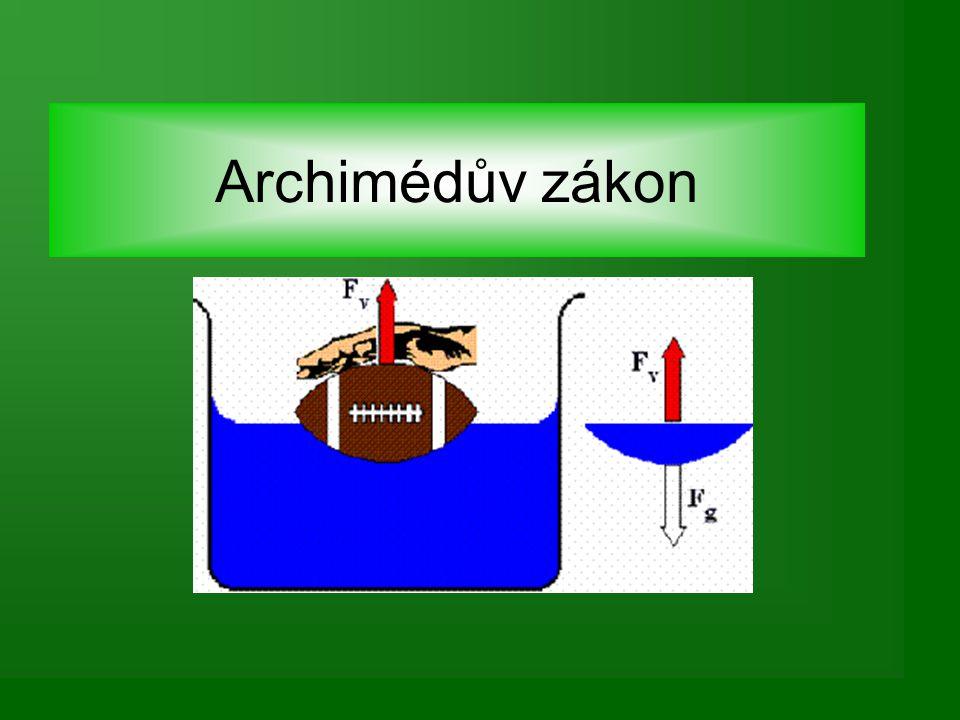 """Archimédes – příběh jeho objevu Archimédes nemohl korunu porušit Jednou, když se koupal v lázních, pozoroval, jak jeho tělo vytlačuje vodu Našel řešení problém – prý vyběhl z lázní nahý a volal """"HEURÉKA! (našel jsem) –do nádoby s vodou položil korunu – sledoval hladinu –do téže nádoby položil kus čistého zlata se stejnou hmotností jako měla koruna –hladina nevystoupila tak vysoko Koruna nebyla z čistého zlata."""