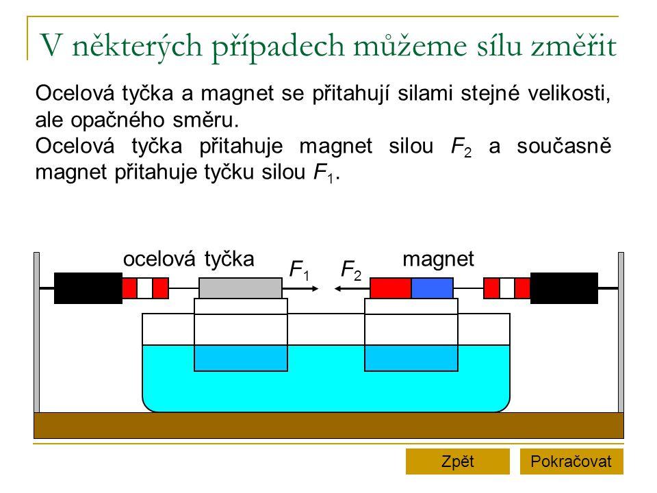 V některých případech můžeme sílu změřit PokračovatZpět ocelová tyčkamagnet F1F1 F2F2 Ocelová tyčka a magnet se přitahují silami stejné velikosti, ale