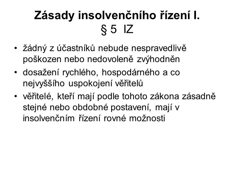 Zásady insolvenčního řízení I.