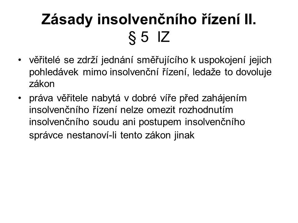 Zásady insolvenčního řízení II.