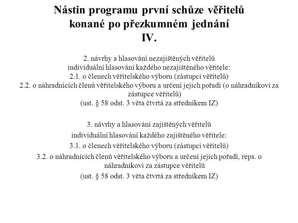 Nástin programu první schůze věřitelů konané po přezkumném jednání IV.
