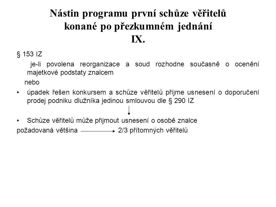 Nástin programu první schůze věřitelů konané po přezkumném jednání IX.
