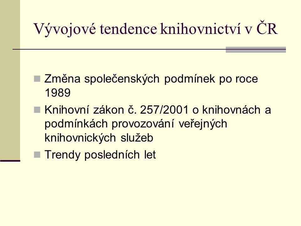Vývojové tendence knihovnictví v ČR Změna společenských podmínek po roce 1989 Knihovní zákon č.