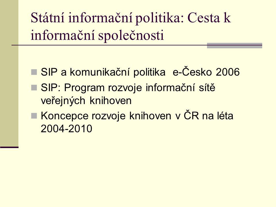 Státní informační politika: Cesta k informační společnosti SIP a komunikační politika e-Česko 2006 SIP: Program rozvoje informační sítě veřejných knihoven Koncepce rozvoje knihoven v ČR na léta 2004-2010