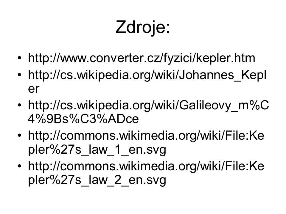 Zdroje: http://www.converter.cz/fyzici/kepler.htm http://cs.wikipedia.org/wiki/Johannes_Kepl er http://cs.wikipedia.org/wiki/Galileovy_m%C 4%9Bs%C3%ADce http://commons.wikimedia.org/wiki/File:Ke pler%27s_law_1_en.svg http://commons.wikimedia.org/wiki/File:Ke pler%27s_law_2_en.svg