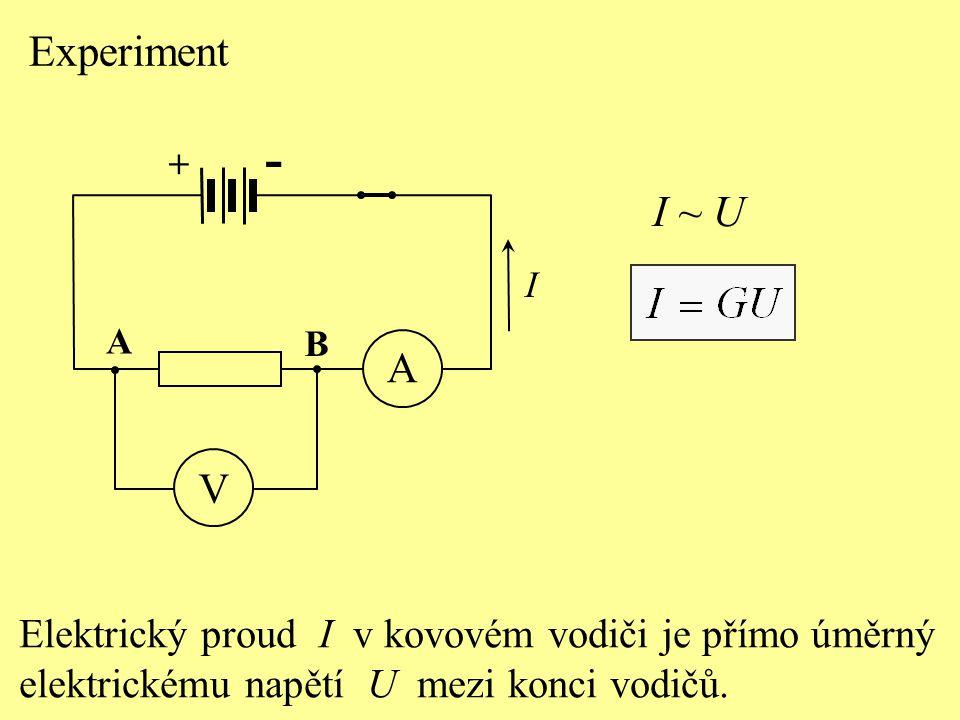 Experiment Elektrický proud I v kovovém vodiči je přímo úměrný elektrickému napětí U mezi konci vodičů. I ~ U + - A V A B I