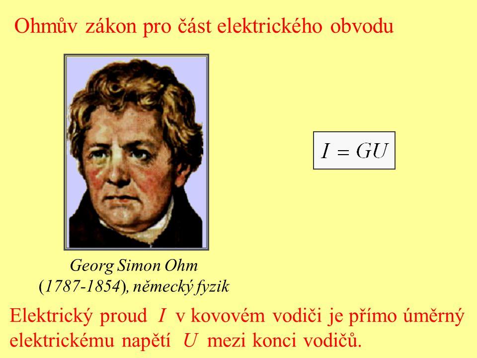 Elektrický proud I v kovovém vodiči je přímo úměrný elektrickému napětí U mezi konci vodičů. Ohmův zákon pro část elektrického obvodu Georg Simon Ohm