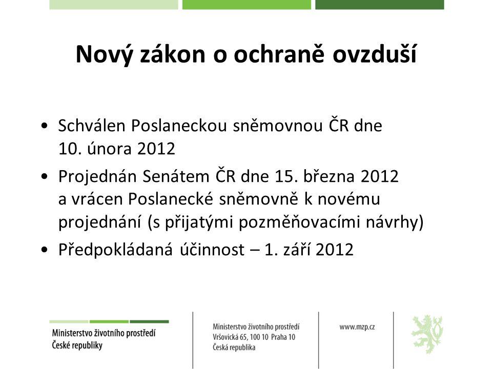 Schválen Poslaneckou sněmovnou ČR dne 10.února 2012 Projednán Senátem ČR dne 15.