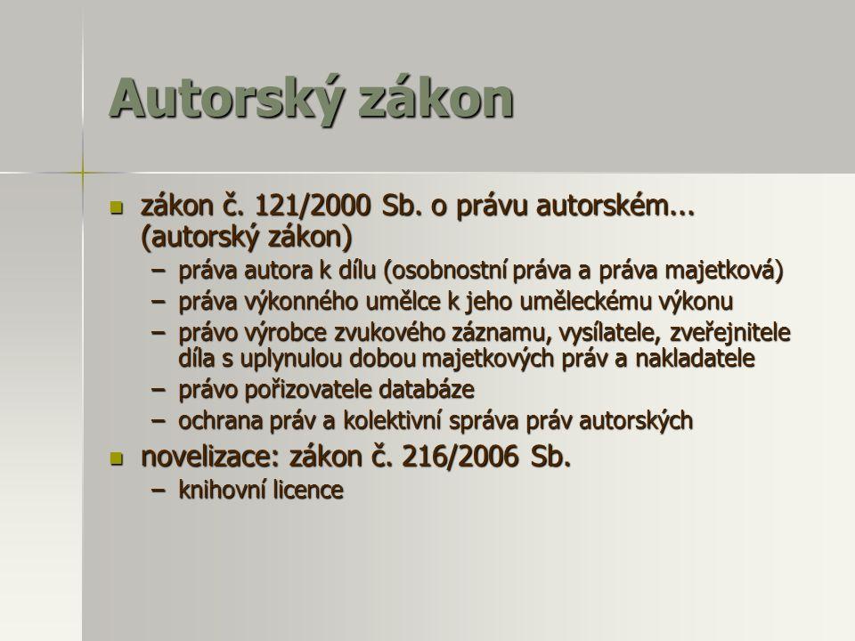 Autorský zákon zákon č. 121/2000 Sb. o právu autorském...