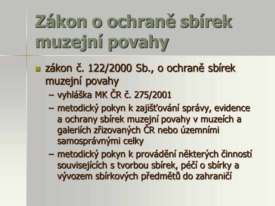 Zákon o ochraně sbírek muzejní povahy zákon č.