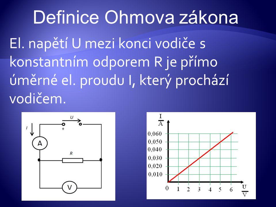 El. napětí U mezi konci vodiče s konstantním odporem R je přímo úměrné el. proudu I, který prochází vodičem. Definice Ohmova zákona
