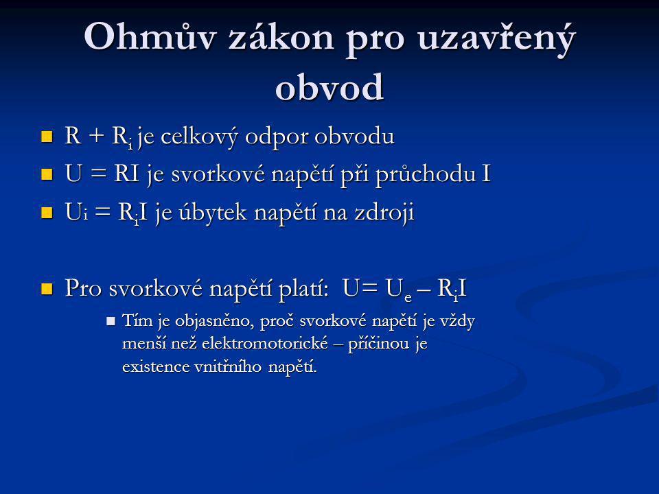 Ohmův zákon pro uzavřený obvod R + R i je celkový odpor obvodu R + R i je celkový odpor obvodu U = RI je svorkové napětí při průchodu I U = RI je svorkové napětí při průchodu I U i = R i I je úbytek napětí na zdroji U i = R i I je úbytek napětí na zdroji Pro svorkové napětí platí: U= U e – R i I Pro svorkové napětí platí: U= U e – R i I Tím je objasněno, proč svorkové napětí je vždy menší než elektromotorické – příčinou je existence vnitřního napětí.