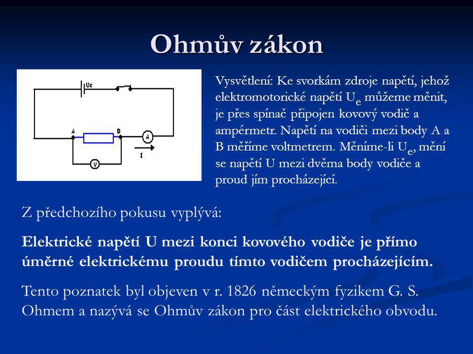 Ohmův zákon Vysvětlení: Ke svorkám zdroje napětí, jehož elektromotorické napětí U e můžeme měnit, je přes spínač připojen kovový vodič a ampérmetr.