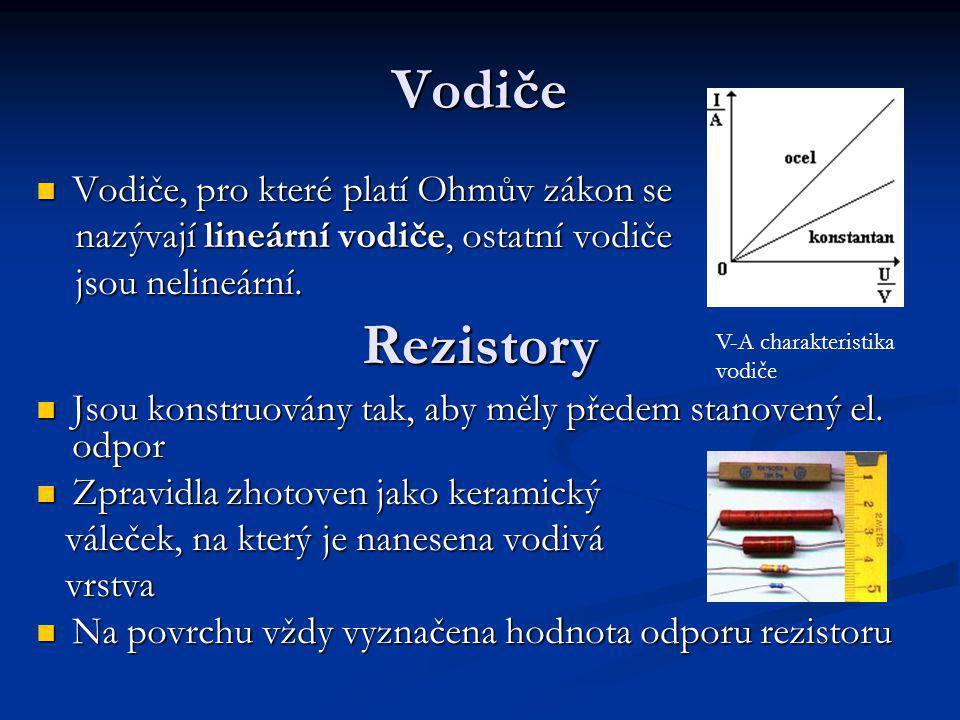Závislost odporu na geometrických rozměrech vodiče a na látce l … délka vodiče l … délka vodiče S … obsah příčného řezu vodiče S … obsah příčného řezu vodiče ρ … měrný elektrický odpor (rezistivita) ρ … měrný elektrický odpor (rezistivita) jednotkou je [ Ώ.m ] jednotkou je [ Ώ.m ]