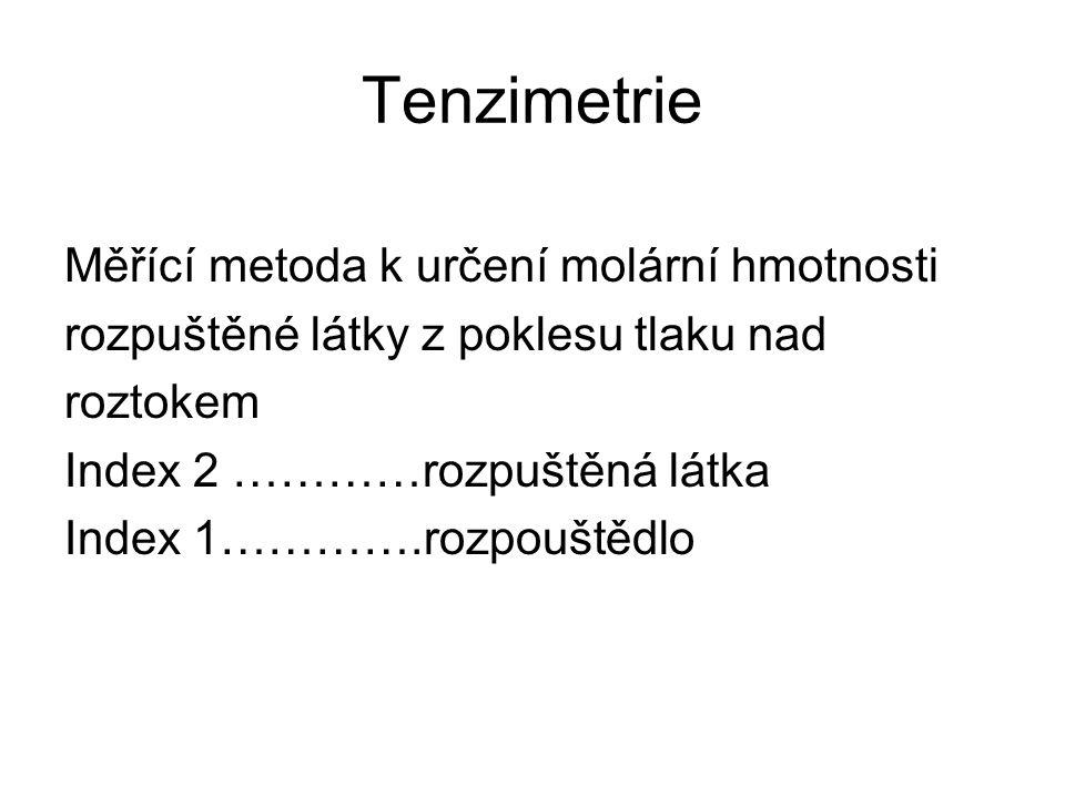 Tenzimetrie Měřící metoda k určení molární hmotnosti rozpuštěné látky z poklesu tlaku nad roztokem Index 2 …………rozpuštěná látka Index 1………….rozpouštědlo