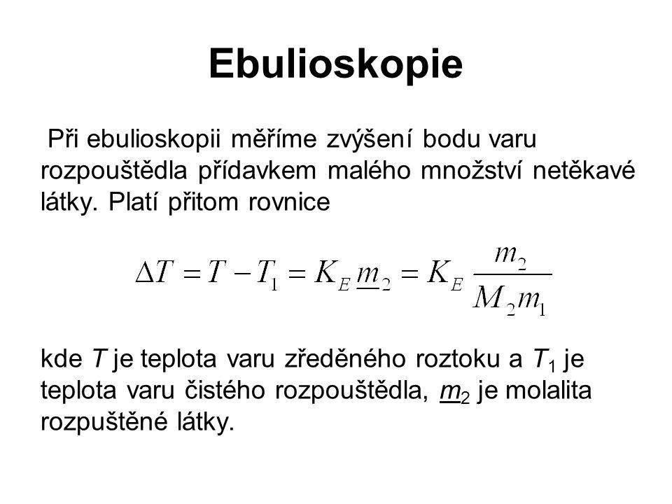 Ebulioskopie Při ebulioskopii měříme zvýšení bodu varu rozpouštědla přídavkem malého množství netěkavé látky. Platí přitom rovnice kde T je teplota va