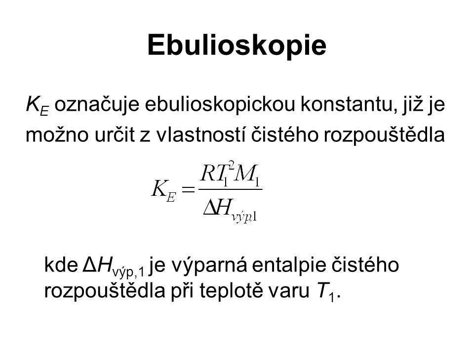 Ebulioskopie K E označuje ebulioskopickou konstantu, již je možno určit z vlastností čistého rozpouštědla kde ΔH výp,1 je výparná entalpie čistého rozpouštědla při teplotě varu T 1.