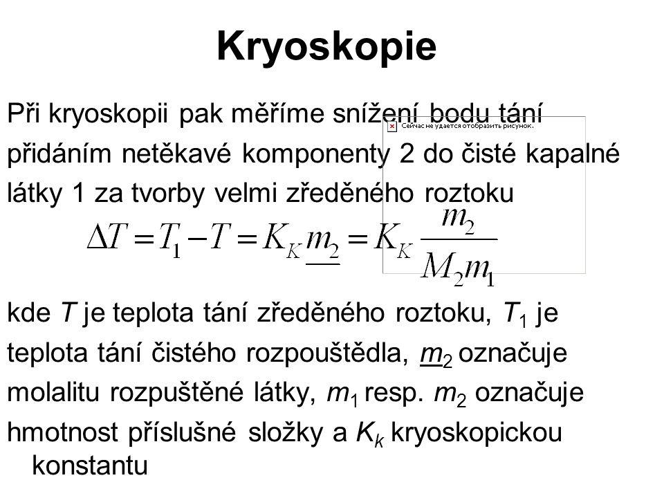 Kryoskopie Při kryoskopii pak měříme snížení bodu tání přidáním netěkavé komponenty 2 do čisté kapalné látky 1 za tvorby velmi zředěného roztoku kde T