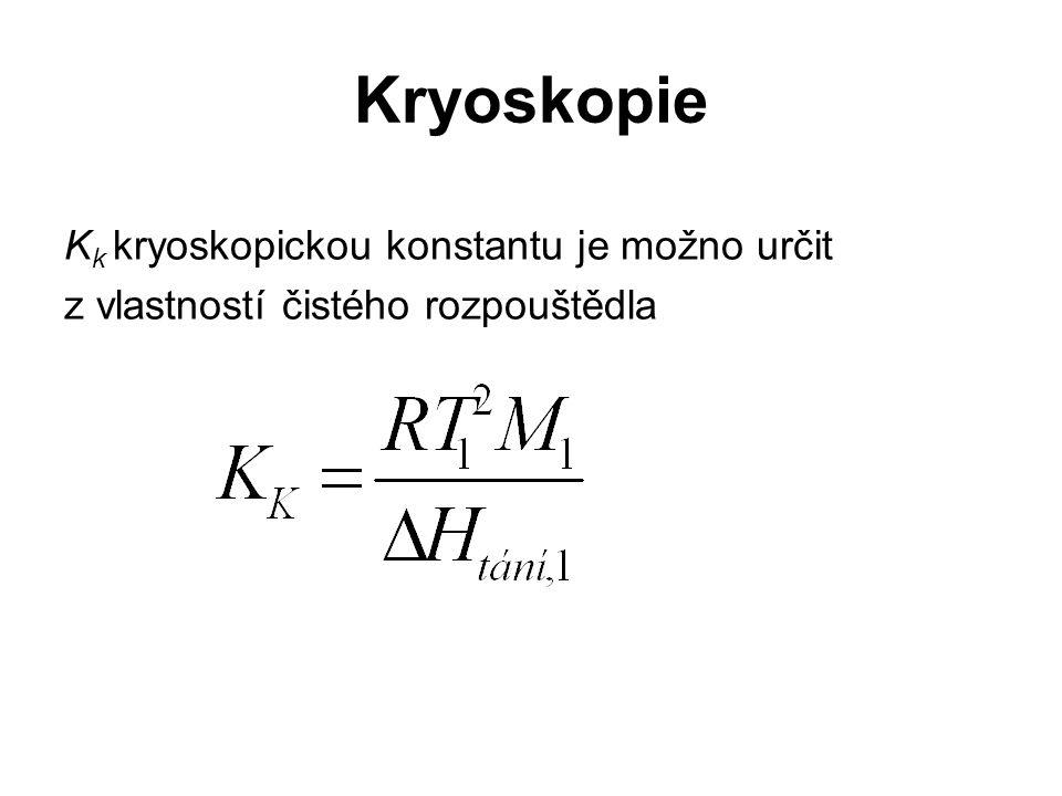 Kryoskopie K k kryoskopickou konstantu je možno určit z vlastností čistého rozpouštědla