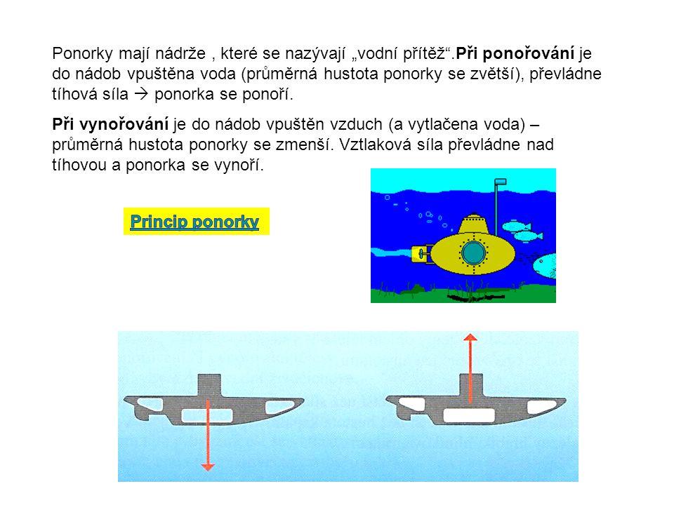 """Ponorky mají nádrže, které se nazývají """"vodní přítěž .Při ponořování je do nádob vpuštěna voda (průměrná hustota ponorky se zvětší), převládne tíhová síla  ponorka se ponoří."""