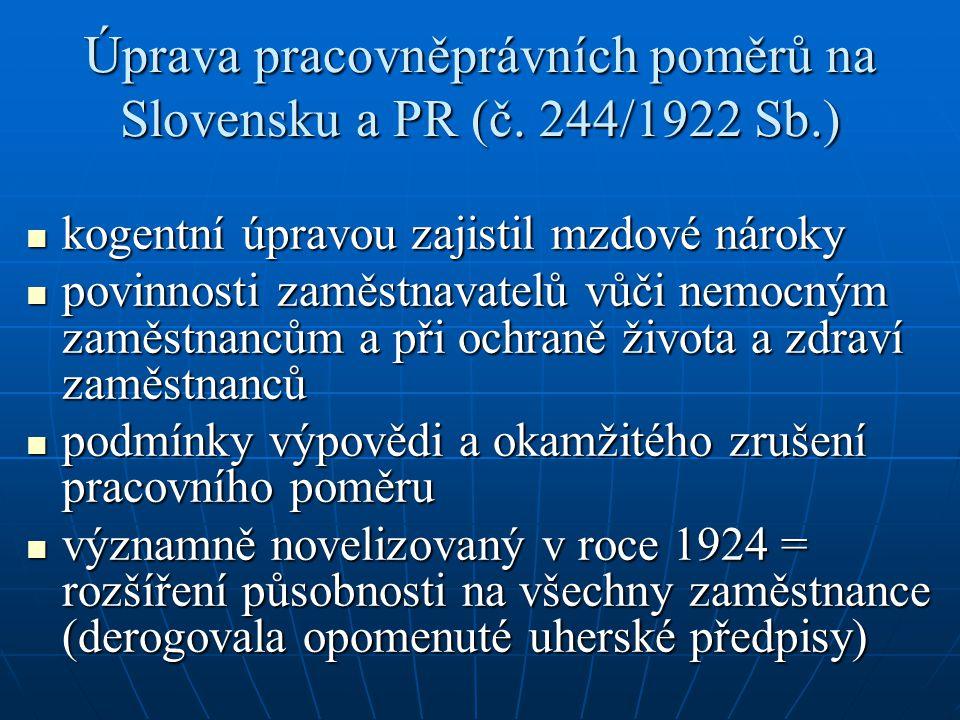 Úprava pracovněprávních poměrů na Slovensku a PR (č.