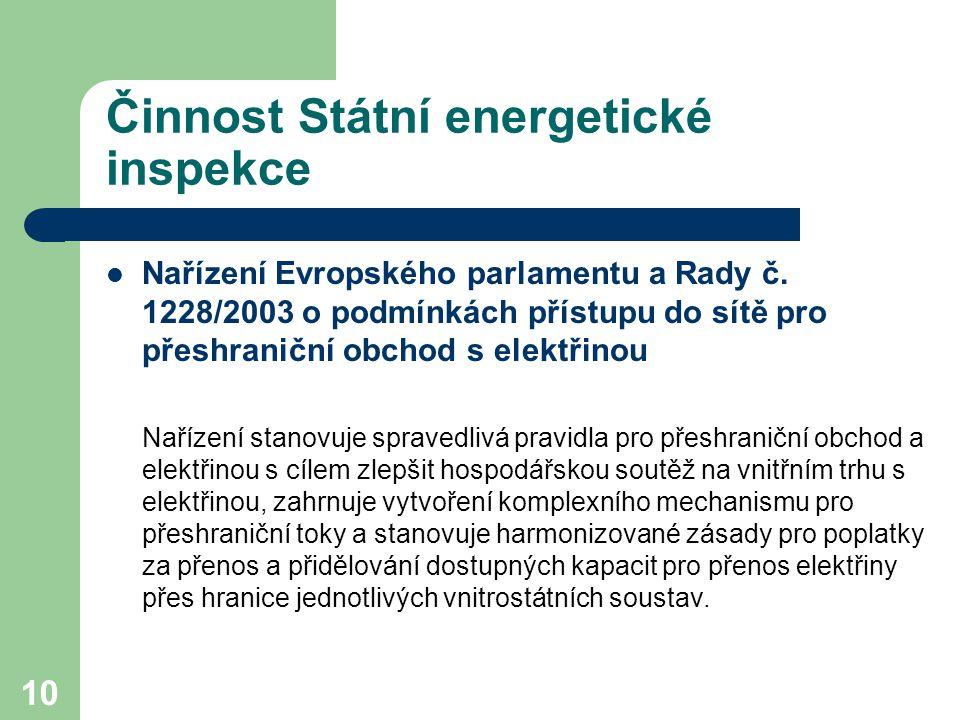 10 Činnost Státní energetické inspekce Nařízení Evropského parlamentu a Rady č. 1228/2003 o podmínkách přístupu do sítě pro přeshraniční obchod s elek