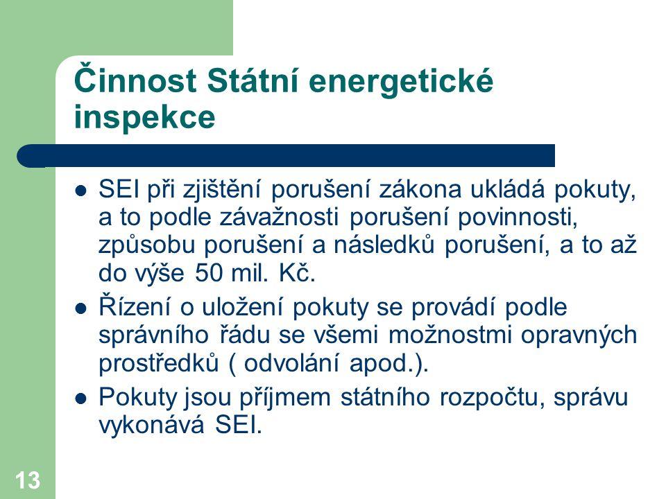 13 Činnost Státní energetické inspekce SEI při zjištění porušení zákona ukládá pokuty, a to podle závažnosti porušení povinnosti, způsobu porušení a n