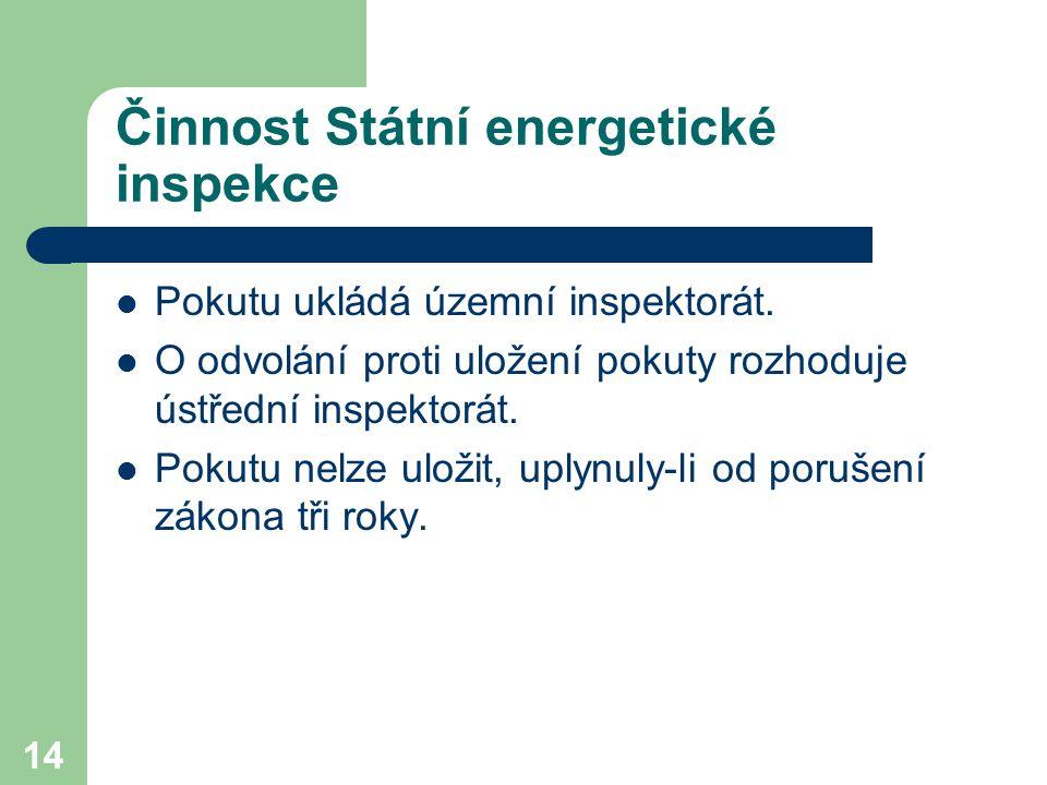 14 Činnost Státní energetické inspekce Pokutu ukládá územní inspektorát. O odvolání proti uložení pokuty rozhoduje ústřední inspektorát. Pokutu nelze