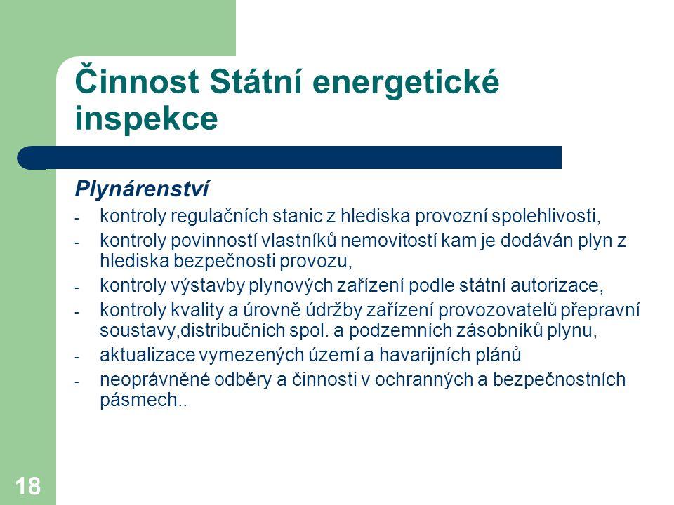 18 Činnost Státní energetické inspekce Plynárenství - kontroly regulačních stanic z hlediska provozní spolehlivosti, - kontroly povinností vlastníků n