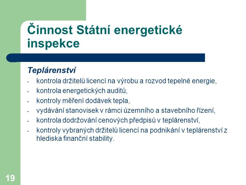 19 Činnost Státní energetické inspekce Teplárenství - kontrola držitelů licencí na výrobu a rozvod tepelné energie, - kontrola energetických auditů, -
