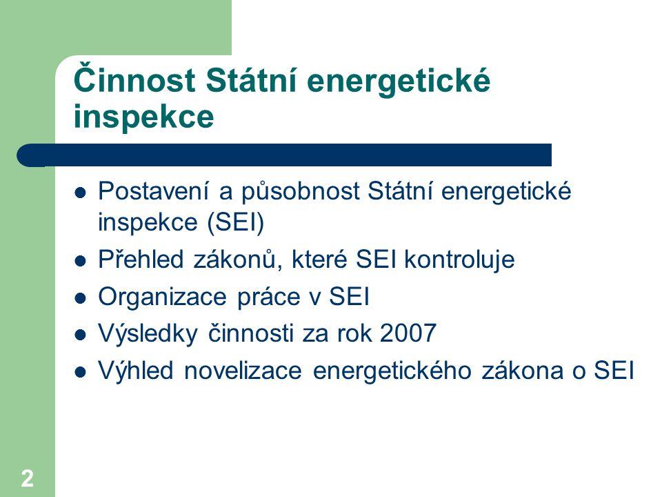 2 Činnost Státní energetické inspekce Postavení a působnost Státní energetické inspekce (SEI) Přehled zákonů, které SEI kontroluje Organizace práce v