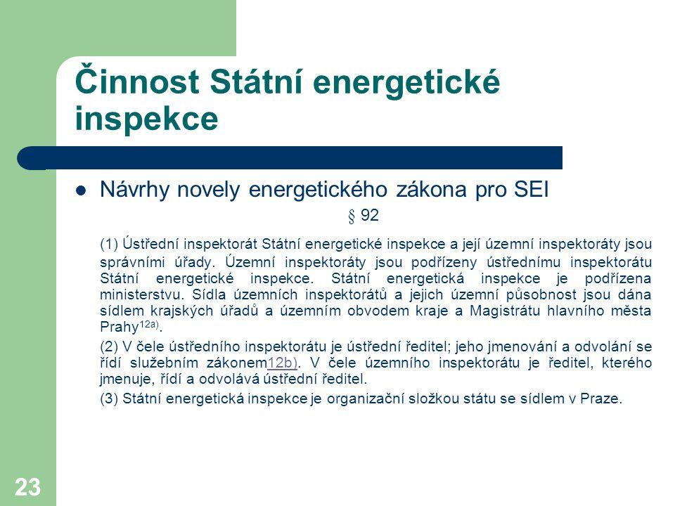 23 Činnost Státní energetické inspekce Návrhy novely energetického zákona pro SEI § 92 (1) Ústřední inspektorát Státní energetické inspekce a její úze