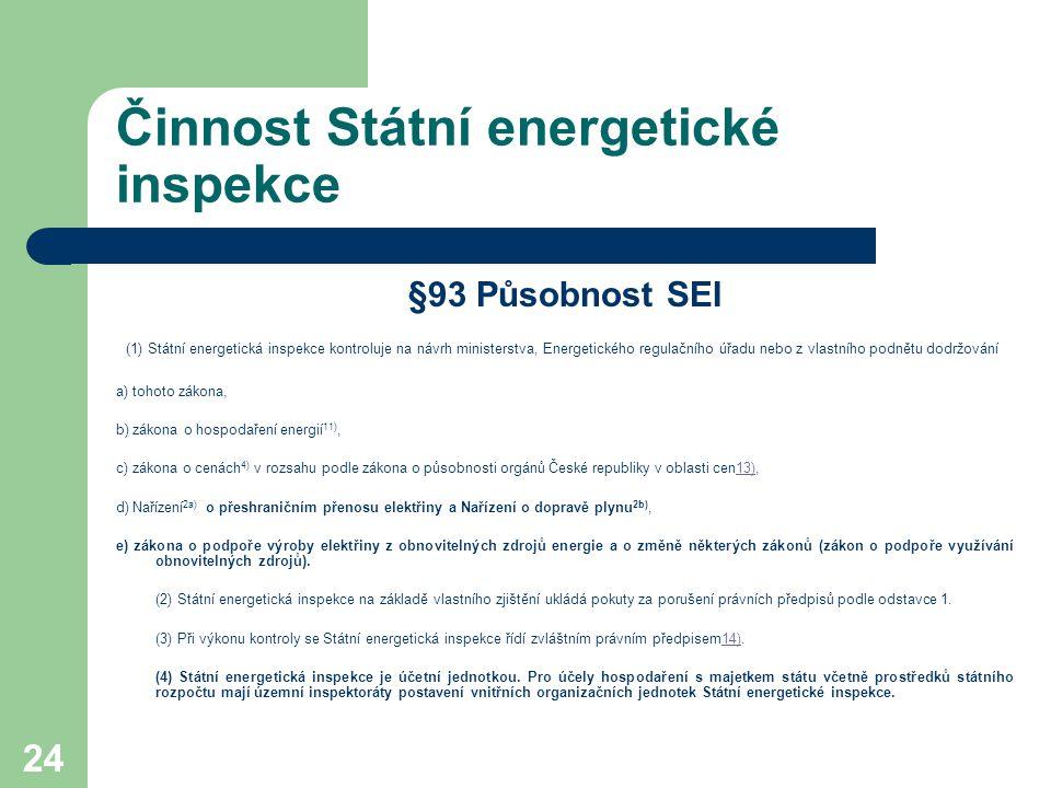 24 Činnost Státní energetické inspekce §93 Působnost SEI (1) Státní energetická inspekce kontroluje na návrh ministerstva, Energetického regulačního ú