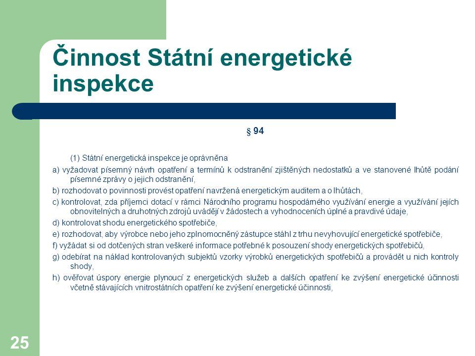 25 Činnost Státní energetické inspekce § 94 (1) Státní energetická inspekce je oprávněna a) vyžadovat písemný návrh opatření a termínů k odstranění zj
