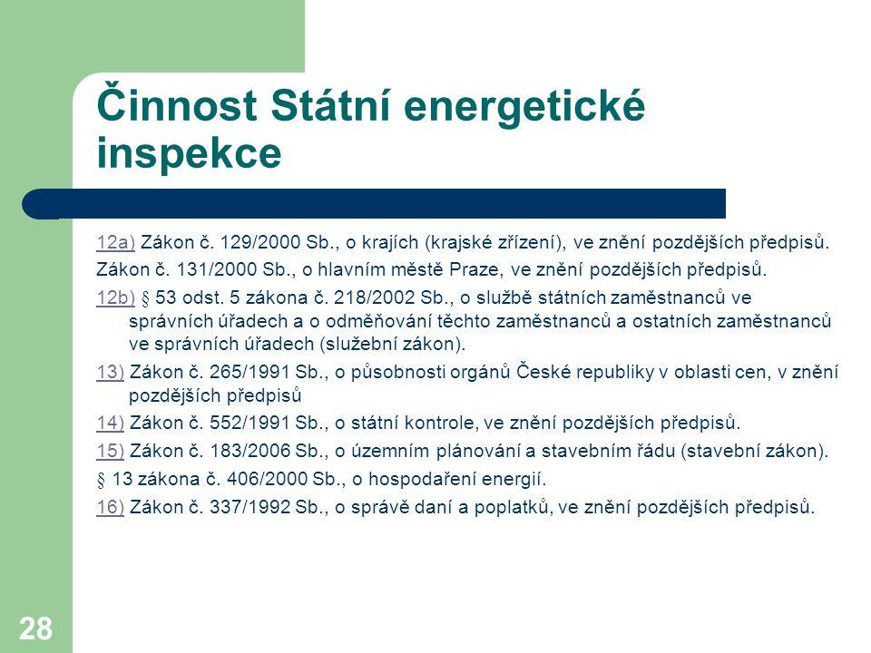 28 Činnost Státní energetické inspekce 12a)12a) Zákon č. 129/2000 Sb., o krajích (krajské zřízení), ve znění pozdějších předpisů. Zákon č. 131/2000 Sb
