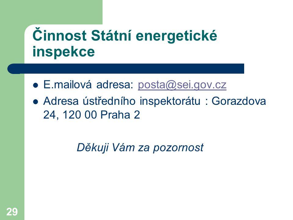 29 Činnost Státní energetické inspekce E.mailová adresa: posta@sei.gov.czposta@sei.gov.cz Adresa ústředního inspektorátu : Gorazdova 24, 120 00 Praha