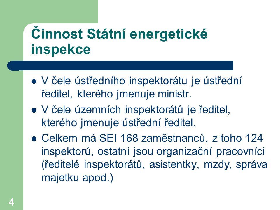 4 Činnost Státní energetické inspekce V čele ústředního inspektorátu je ústřední ředitel, kterého jmenuje ministr. V čele územních inspektorátů je řed