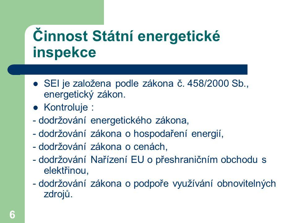 6 Činnost Státní energetické inspekce SEI je založena podle zákona č. 458/2000 Sb., energetický zákon. Kontroluje : - dodržování energetického zákona,