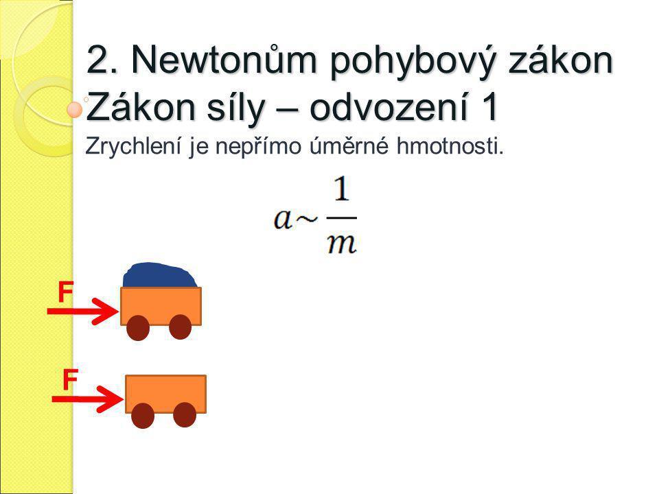 2. Newtonům pohybový zákon Zákon síly – odvození 1 Zrychlení je nepřímo úměrné hmotnosti. F F