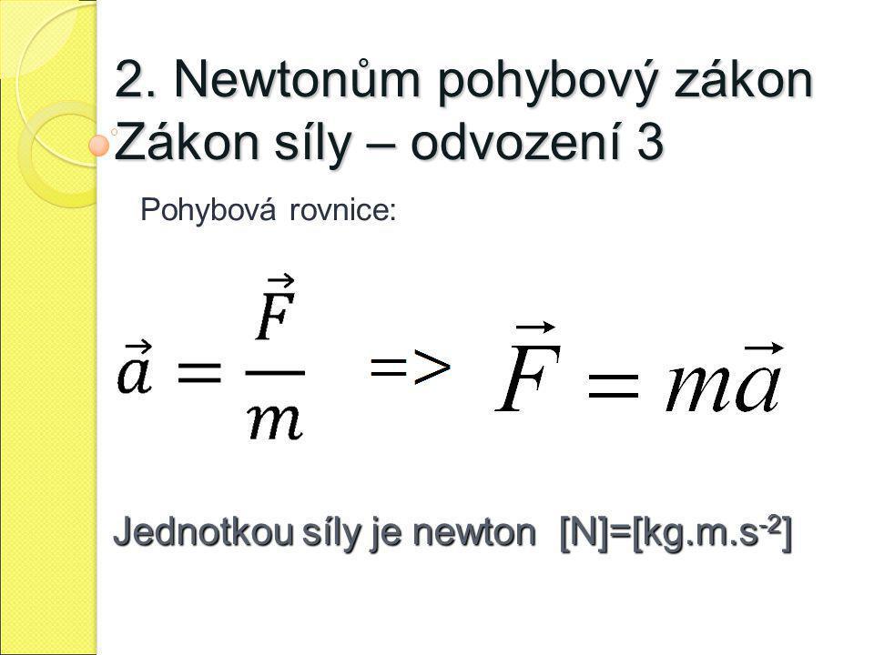 2. Newtonům pohybový zákon Zákon síly – odvození 3 Pohybová rovnice: Jednotkou síly je newton [N]=[kg.m.s -2 ]