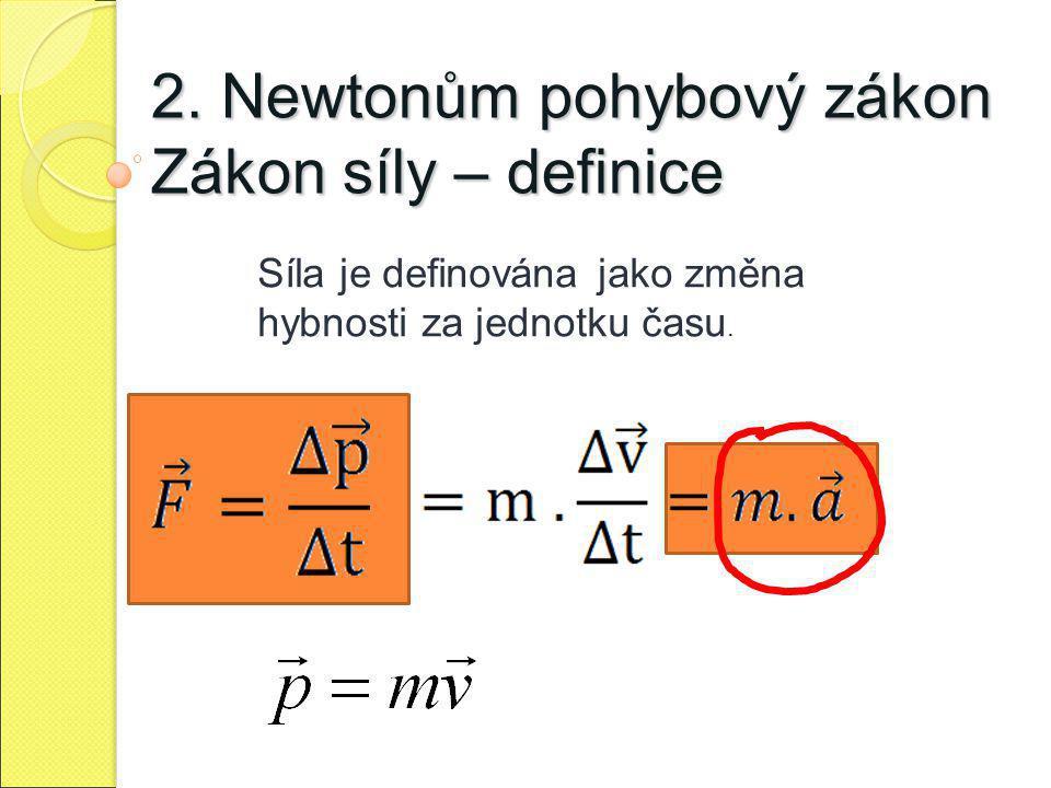 2. Newtonům pohybový zákon Zákon síly – definice Síla je definována jako změna hybnosti za jednotku času.