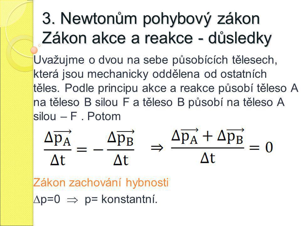 3. Newtonům pohybový zákon Zákon akce a reakce - důsledky Uvažujme o dvou na sebe působících tělesech, která jsou mechanicky oddělena od ostatních těl