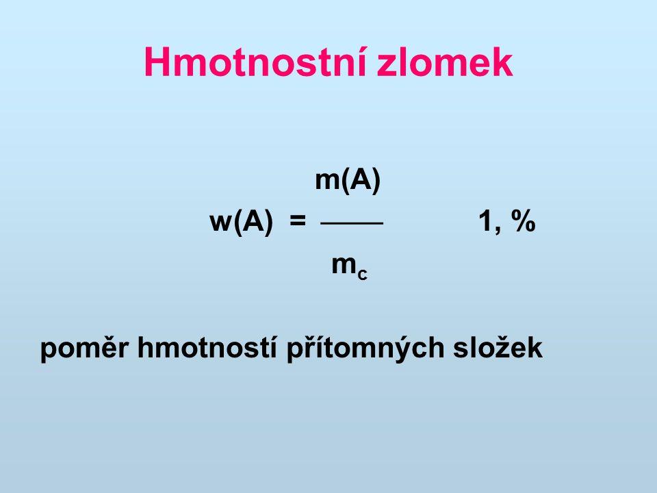 Hmotnostní zlomek m(A) w(A) =  1, % m c poměr hmotností přítomných složek